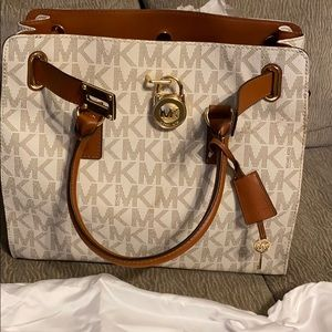 White and Brown Michael Kors Tote Purse